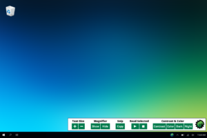 Screenshot of the Morphic Basic bar, with a number of links to tools such as text size, magnifier, snip, read selected, and contrast & color