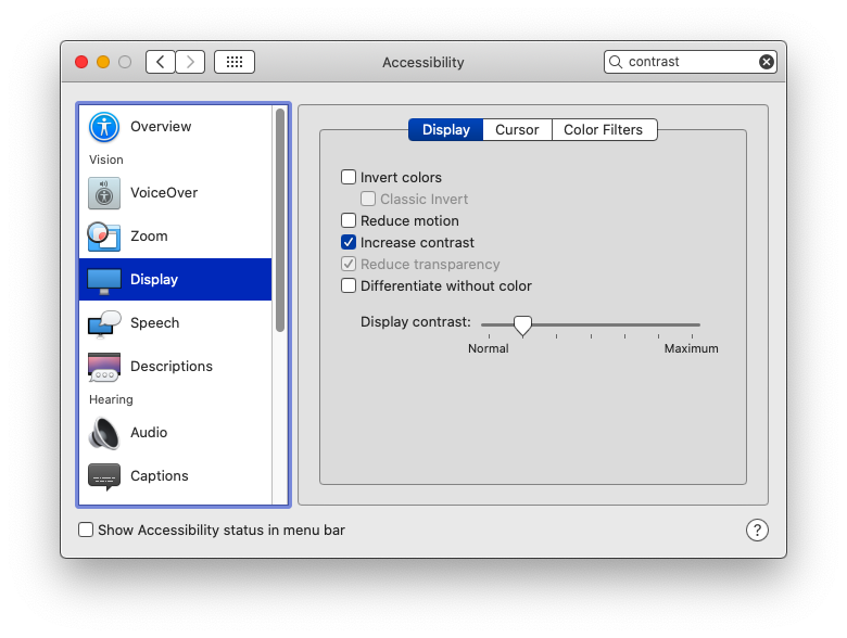 Accessibility Display preferences window in Mac OS.