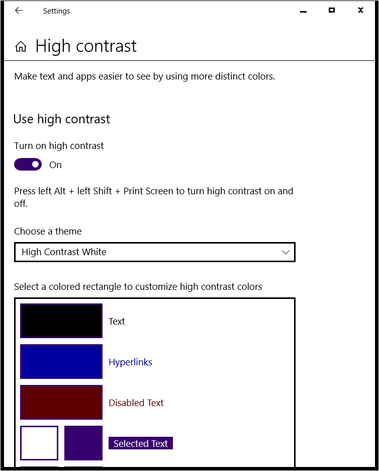 High Contrast settings panel in Windows 10.