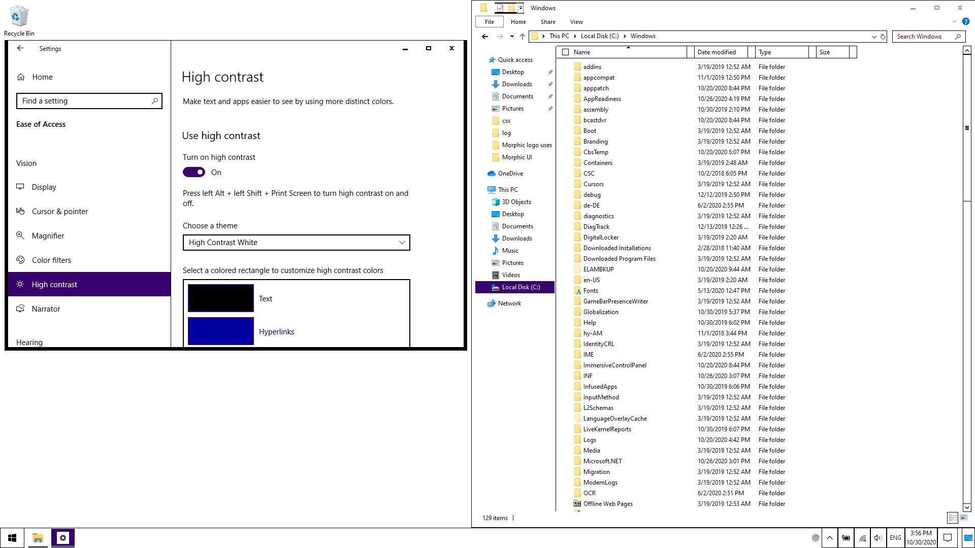 Windows desktop with high contrast applied.