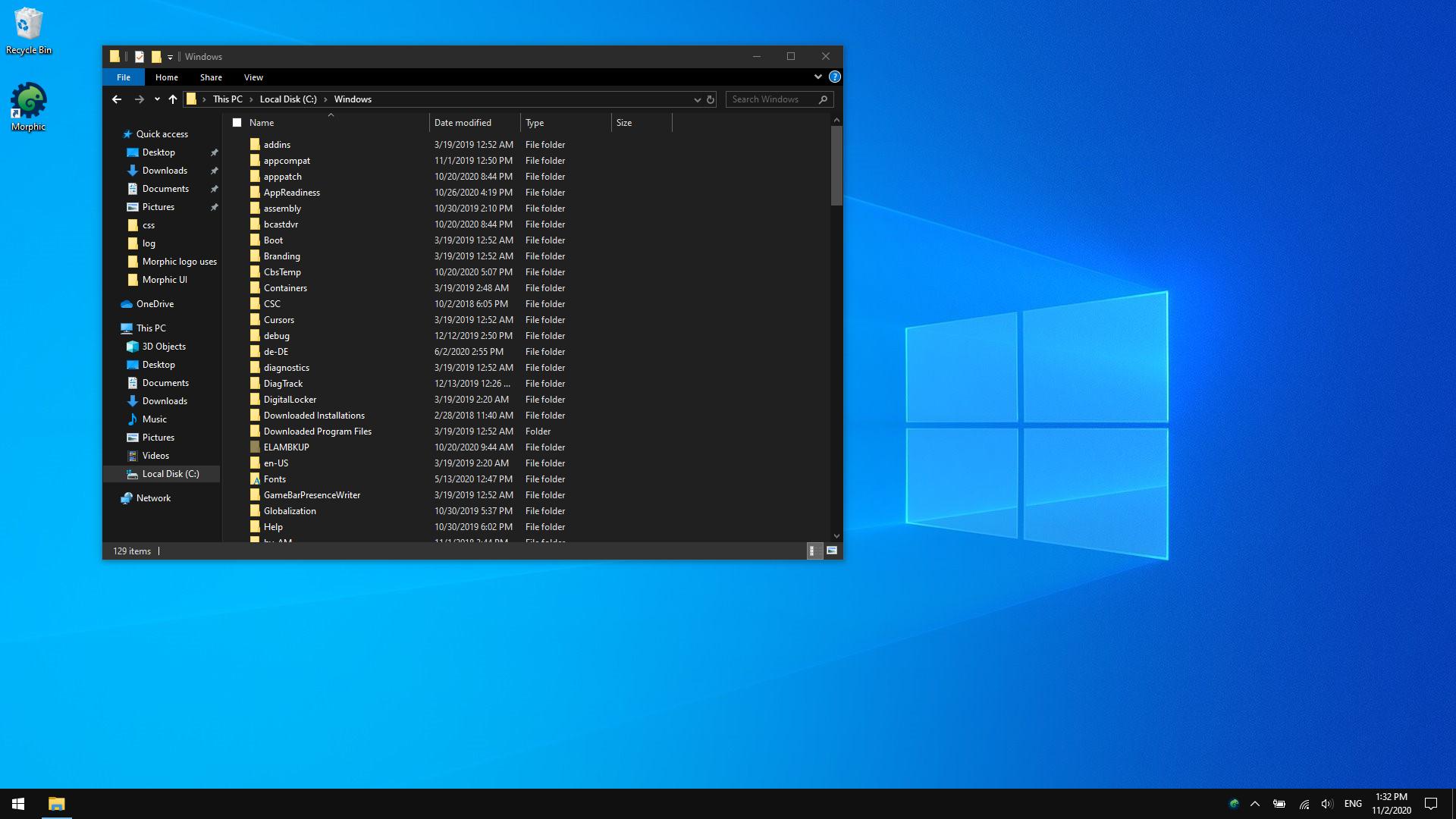 Dark Mode on the Windows desktop.
