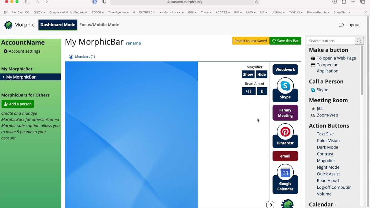 Screenshot of MorphicBar Customization tool. This tool helps you add and remove elements to the MorphicBar.