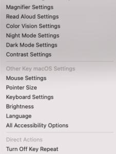 Screenshot of the Morphic Basic bar settings